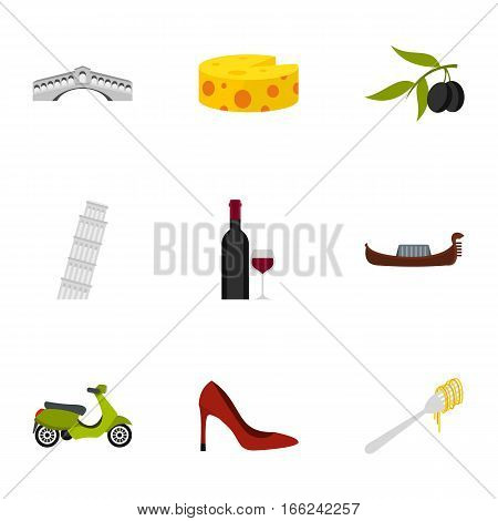 Travel to Italy icons set. Flat illustration of 9 travel to Italy vector icons for web