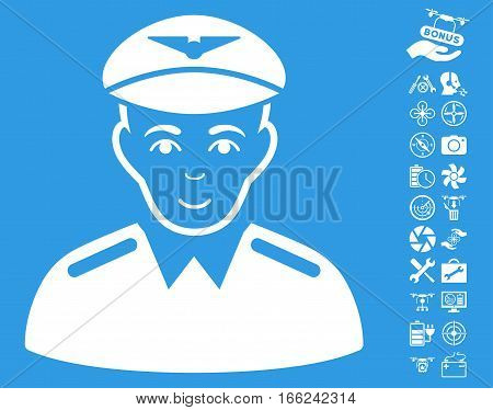 Aviator pictograph with bonus flying drone service pictures. Vector illustration style is flat iconic white symbols on blue background.