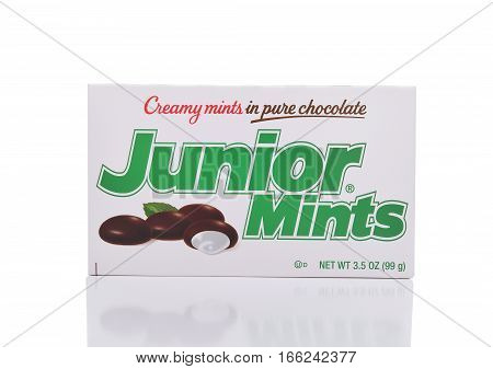 IRVINE CALIFORNIA - JANUARY 22 2017: Junior Mints. The candy was introduced in 1949 in Cambridge Massachusetts by the James O. Welch Company.