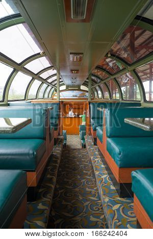June 28 2016 Colon Panama: the interior of Panama Railway train a popular commuting between the capital city and Colon for port workers as well as tourists