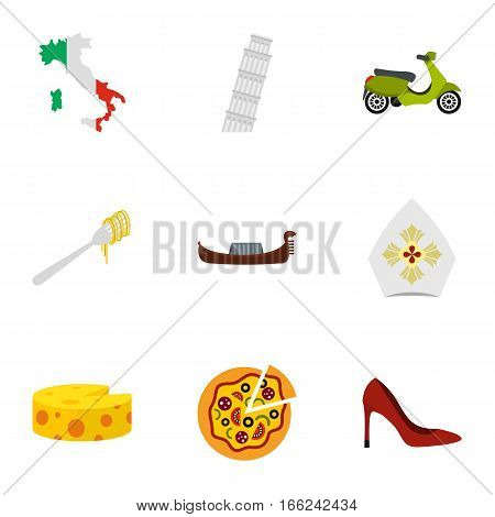 Italy culture elements icons set. Flat illustration of 9 Italy culture elements vector icons for web