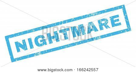 Nightmare text rubber seal stamp watermark. Tag inside rectangular shape with grunge design and dirty texture. Inclined vector blue ink sticker on a white background.