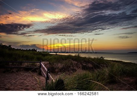 Beautiful sunset on AuTrain beach on the shores of Lake Superior