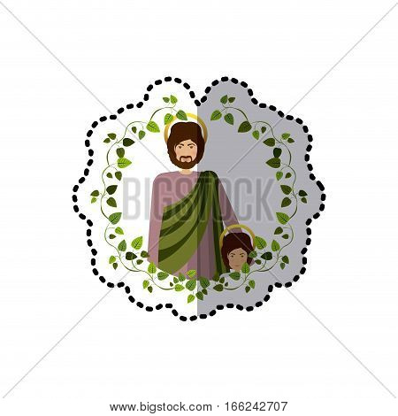 sticker arch of green leaves with half body saint joseph with baby jesus vector illustration