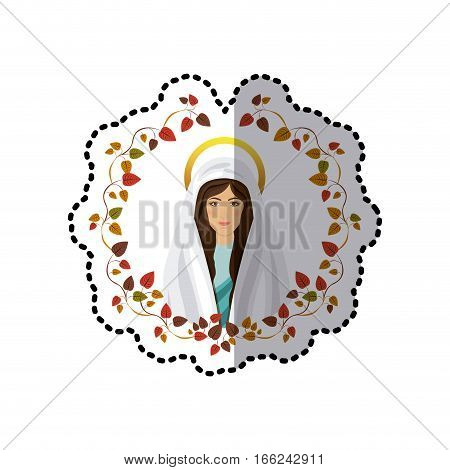 sticker ornament of leaves with half body picture saint virgin mary vector illustration