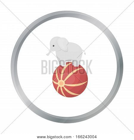 Circus elephant icon in cartoon style isolated on white background. Circus symbol vector illustration. - stock vector