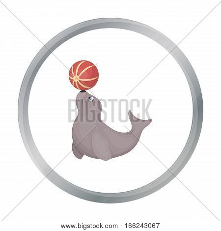 Trained fur seal icon in cartoon style isolated on white background. Circus symbol vector illustration. - stock vector