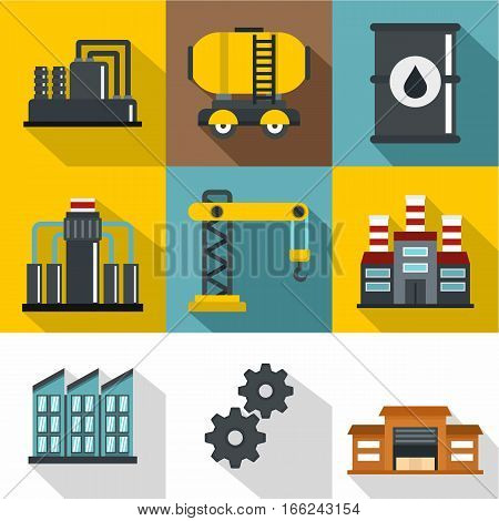 Oil icons set. Flat illustration of 9 oil vector icons for web