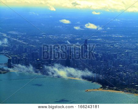 aerial view of Chicago skyline from above