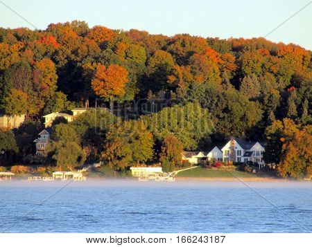 fall foliage morning sun lake Geneva Wisconsin