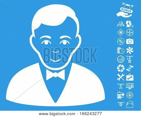Dealer pictograph with bonus copter service images. Vector illustration style is flat iconic white symbols on blue background.