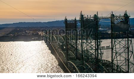 Aerial View of Double Span Lift Bridge over a Large River