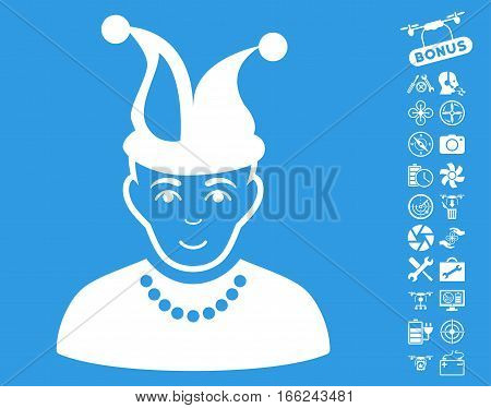 Fool pictograph with bonus aircopter tools images. Vector illustration style is flat iconic white symbols on blue background.