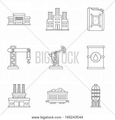 Petroleum icons set. Outline illustration of 9 petroleum vector icons for web