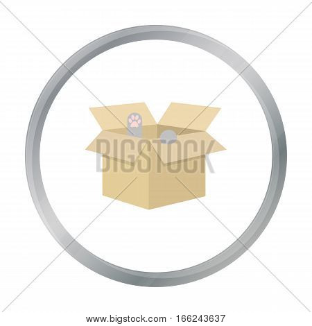 Cat in a carton box icon of vector illustration for web and mobile design - stock vector