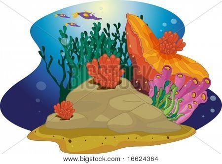 coral reef cartoon illustration