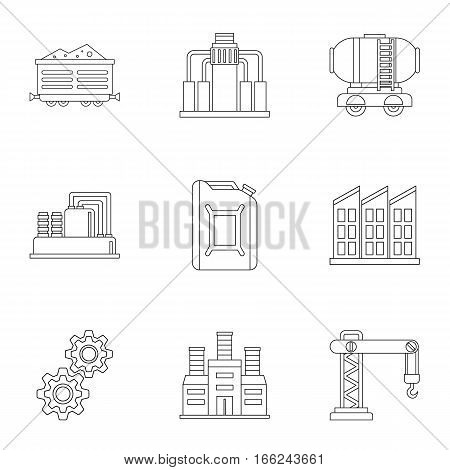 Oil production icons set. Outline illustration of 9 oil production vector icons for web