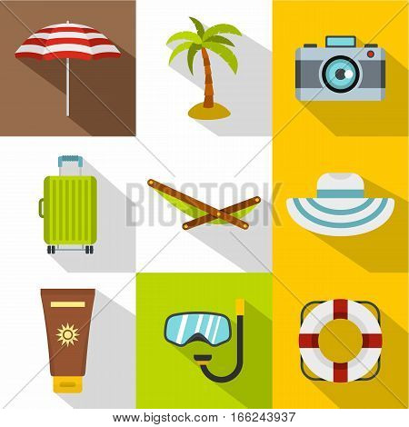 Beach icons set. Flat illustration of 9 beach vector icons for web
