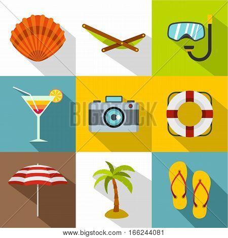 Coast icons set. Flat illustration of 9 coast vector icons for web