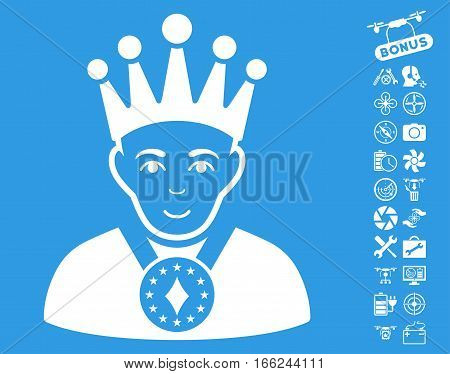 King pictograph with bonus nanocopter tools pictures. Vector illustration style is flat iconic white symbols on blue background.