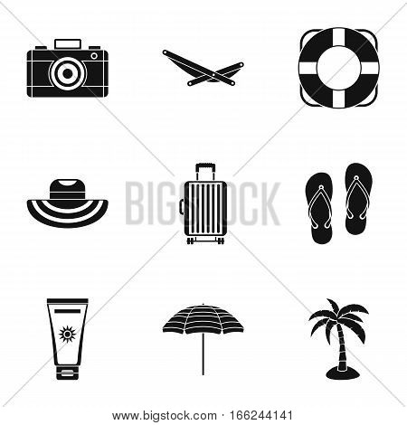 Relax on beach icons set. Simple illustration of 9 relax on beach vector icons for web