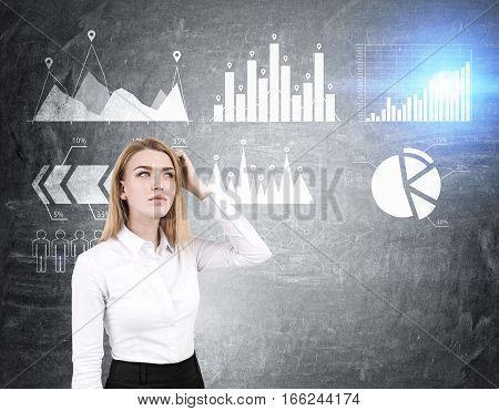 Woman Scratches Head, Six Graphs On Blackboard
