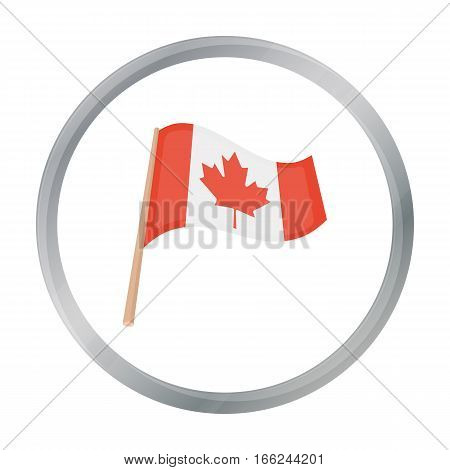 Canadian flag icon in cartoon style isolated on white background. Canadian Thanksgiving Day symbol vector illustration. - stock vector
