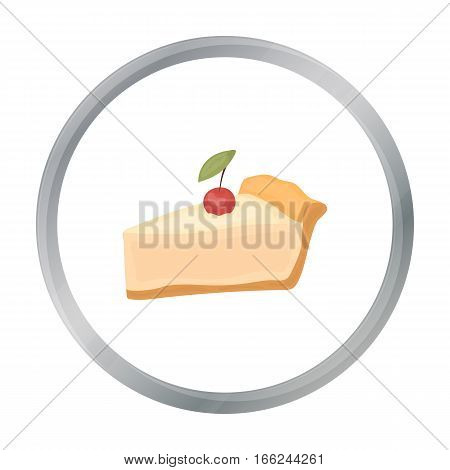 Piece of thanksgiving pie icon in cartoon style isolated on white background. Canadian Thanksgiving Day symbol vector illustration. - stock vector