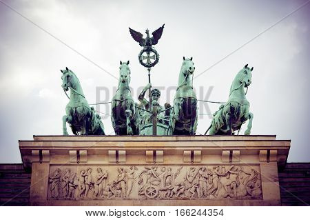 detail shot of the chariot on top of the brandenburger tor, berlin, germany.