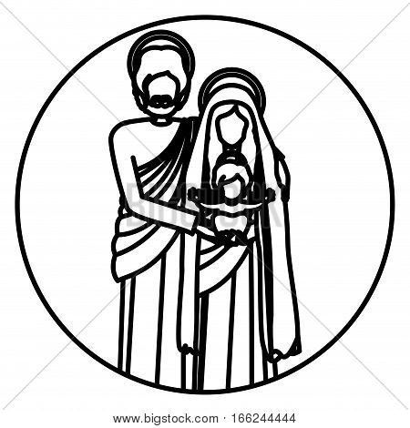 circular shape with silhouette of sacred family standing vector illustration