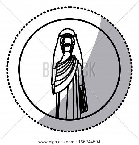 circular sticker with silhouette of christ with tunic vector illustration