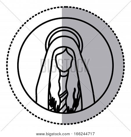 circular sticker with silhouette half body saint virgin mary vector illustration