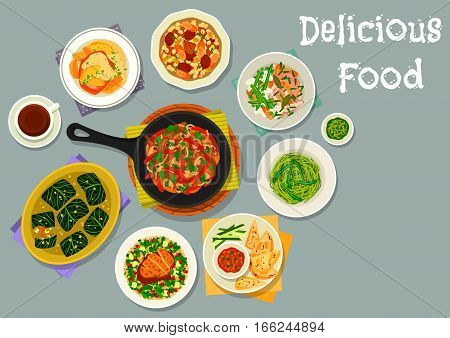 French cuisine meat dishes icon with vegetable rabbit stew, beef stew with veggies and bean, chicken with salad, beef mushroom stir fry, baked pork with apple, carrot dip with toast, cabbage roll