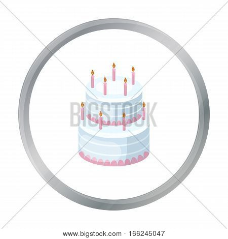 Birthday cake icon in cartoon design isolated on white background. Cakes symbol stock vector illustration. - stock vector