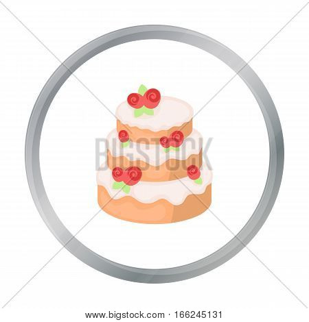 Cake with roses icon in cartoon design isolated on white background. Cakes symbol stock vector illustration. - stock vector