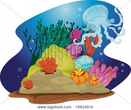illustration of sea grass under water