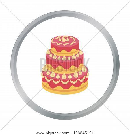 Red three-ply cake icon in cartoon design isolated on white background. Cakes symbol stock vector illustration. - stock vector