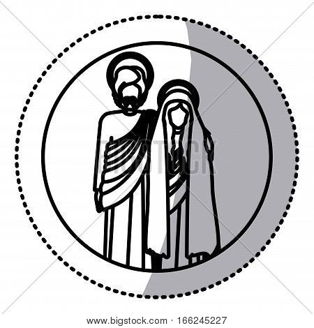 circular sticker with silhouette virgin mary and saint joseph embraced vector illustration