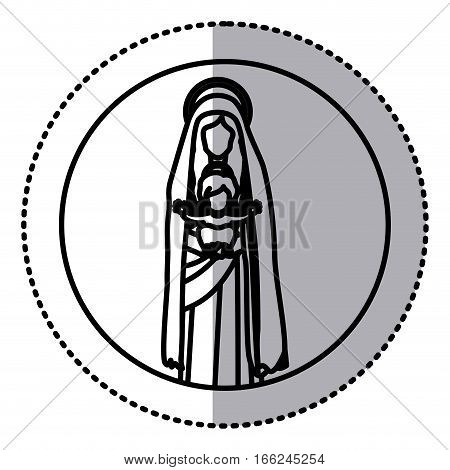 circular sticker with silhouette saint virgin mary with baby jesus vector illustration