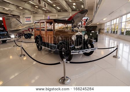 Santa Ana CA USA - January 21 2017: Woody 1929 Ford Model A Station Wagon displayed at the Lyon Air Museum in El Santa Ana California United States. It was used during World War II.