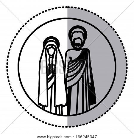 circular sticker with silhouette virgin mary and saint joseph standing vector illustration