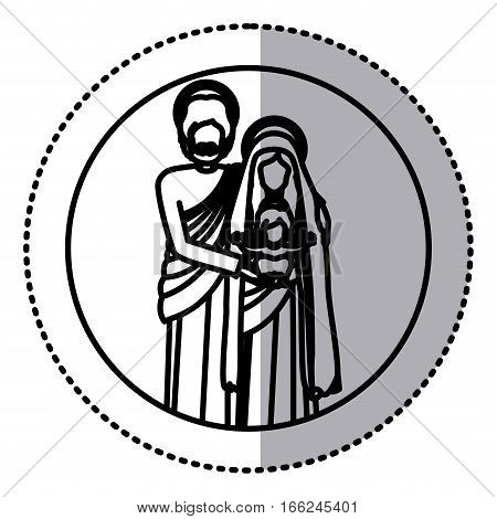 circular sticker with silhouette of sacred family standing vector illustration