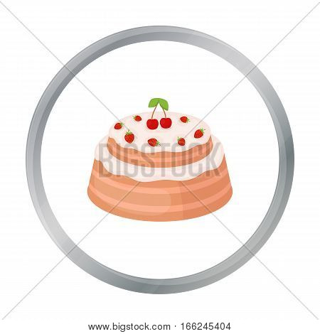 Cake with cherry icon in cartoon design isolated on white background. Cakes symbol stock vector illustration. - stock vector