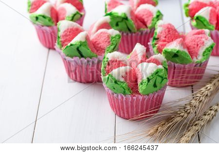 Thai Dessert, Thai Steamed Cup Cake Or Cotton Wool Cake
