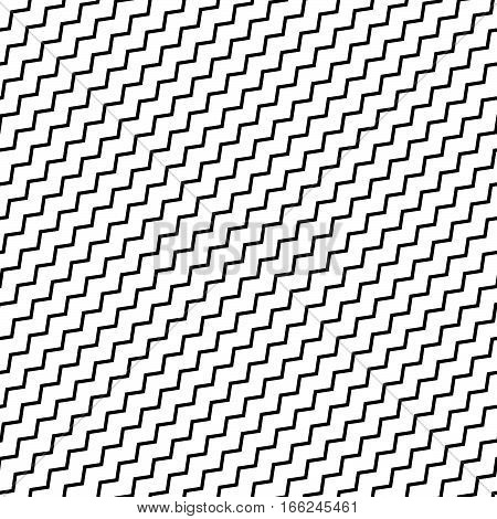 Black Diagonal Lines Seamless Pattern. Wavy, Zigzag Distorted Lines Pattern