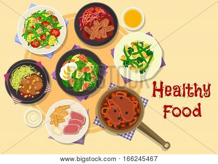 Meat and vegetable dishes icon of meat and veggies stew, baked beef dishes with wine honey and soy sauces with peanut, potato salads with egg, tomato, fish, green bean and basil. Food theme design