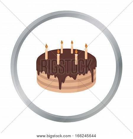 Chocolate cake icon in cartoon design isolated on white background. Cakes symbol stock vector illustration. - stock vector