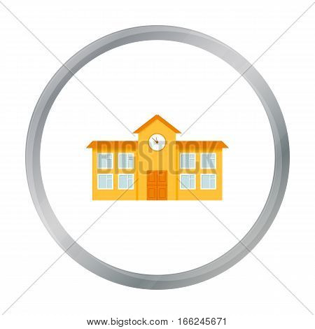 School icon cartoon. Single building icon from the big city infrastructure cartoon. - stock vector
