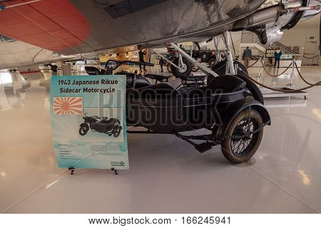 Santa Ana CA USA - January 21 2017: Black 1943 Japanese Rikuo sidecar motorcycle displayed at the Lyon Air Museum in El Santa Ana California United States. It was used during World War II. Editorial use only.