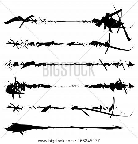 Set of textured rough and grungy elements isolated on white. Elements with scratchy sketchy damaged ripped slashed texture. poster
